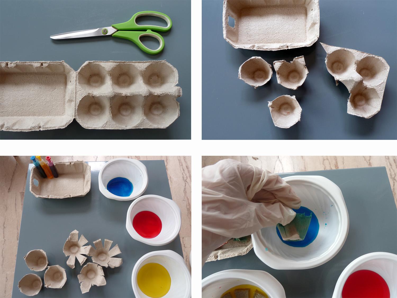 Guirlande florale en bo te d oeuf - Que faire avec des boites d oeufs ...